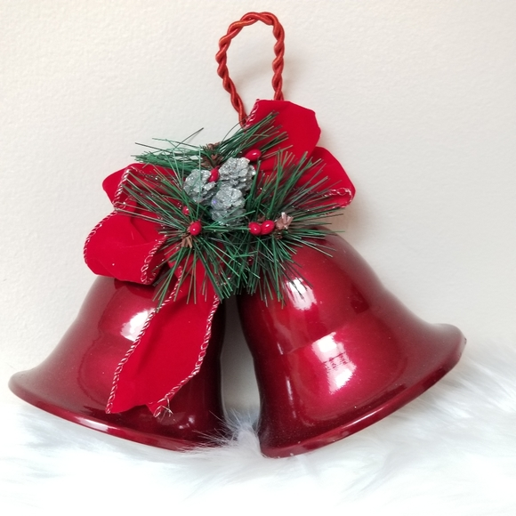 Christmas Bells decor red glam dual chime